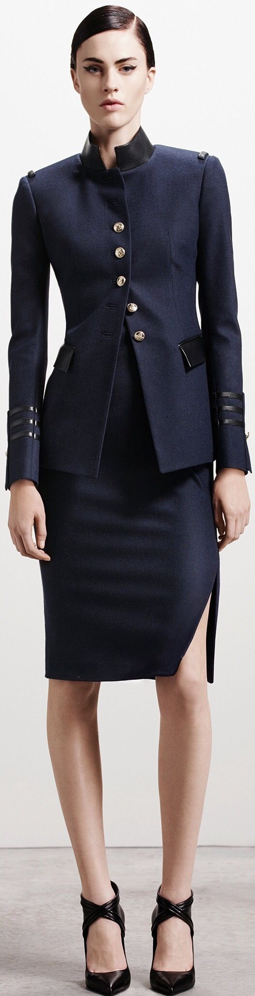 col // navy blue & leather // Altuzarra Pre-Fall 2015