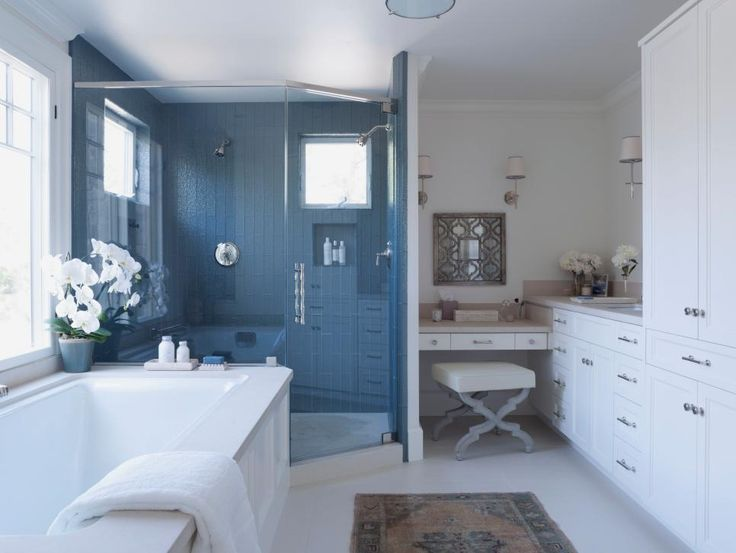Create Photo Gallery For Website A steely blue backsplash is the focal point in this lovely master bedroom The palette