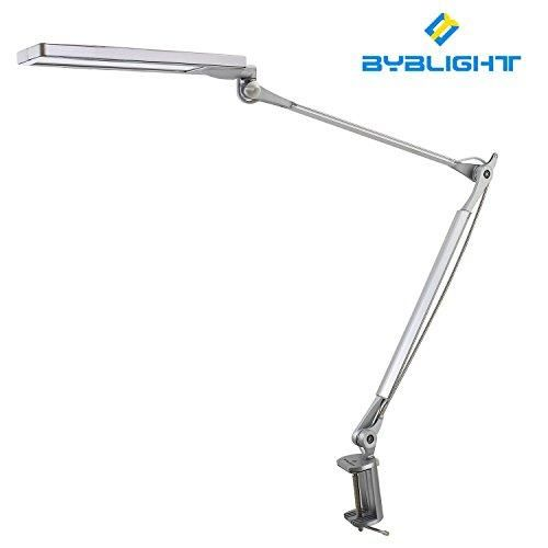 Byb E-430 Professional Architect Swing / Adjustable Arm, Giant Eye-Care 8-Watt Dimmable Led Reading Light / Swing Arm Table Desk Lamp With Metal Clamp, 4 Unique Lighting Modes (3200K, 4200K, 5200K, 6200K), 6-Level Dimmer, Touch-Sensitive Control Panel  A good desk lamp is important in the modern work environment or home office, as viewing a computer monitor requires far less light than does reading a typewritten page that why BYBlight made a desk lamp to give workers total control over...