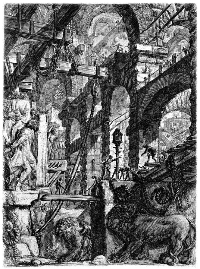 15- Les Prisons imaginaires de Giovanni Battista Piranesi (9). - § G.BATTISTA PIRANESI - OEUVRES: Piranesi voue un véritable culte à Rome qui domine ses pensées, sa vie, qui oriente ses ambitions et en légitime ses erreurs. Son oeuvre prolixe est dévouée à la Magnificenza de cette ville en investissant tous les secteurs artistiques (architecture, décoration, archéologie, gravure). Il reste redevable à Venise qui a été sa ville de naissance et qui lui a permis de choisir son avenir…