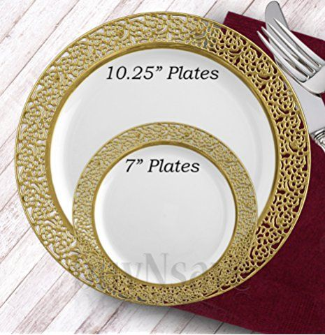Gold Rimmed Disposable Cake Plates
