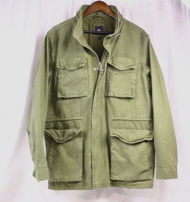 GAP Olive Green Canvas Military Army Field Jacket M-65 Utility Jacket Coat Men L #Gap #Military