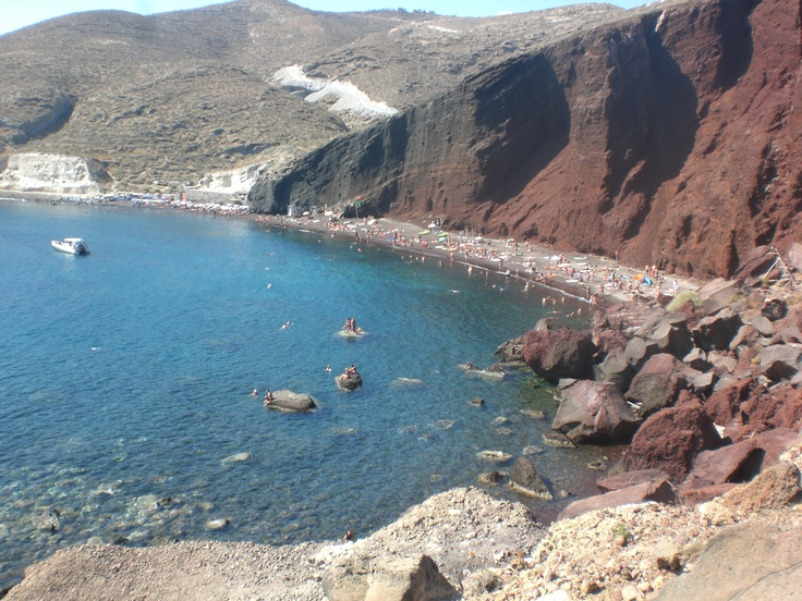 Overlooking the red beach