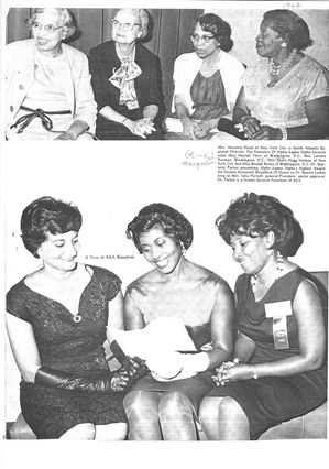 Top photo, L-R:  BEULAH E. BURKE, MARGARET FLAGG HOLMES, LAVINIA NORMA and HARRIET TERRY (1964, occasion and publication unknown) #AKA1908
