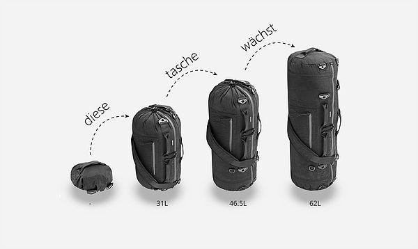 flexibel – das ist das schlagwort, was diese eher unscheinbar wirkende tasche ausmacht. denn die größe und das design der a10 – so ihr name – sind auf deine jeweiligen bedürfnisse anpassbar. die tasche fasst in ihrem kleinsten zustand 31 liter, im mittleren 46,5 und in voller pracht bis zu 62. ändern lässt sich die größe mit einem ins design integriertes kordelsystem. genutzt werden kann sie als trage-, umhängetasche oder rucksack. außerdem ist sie wasserabweisend.