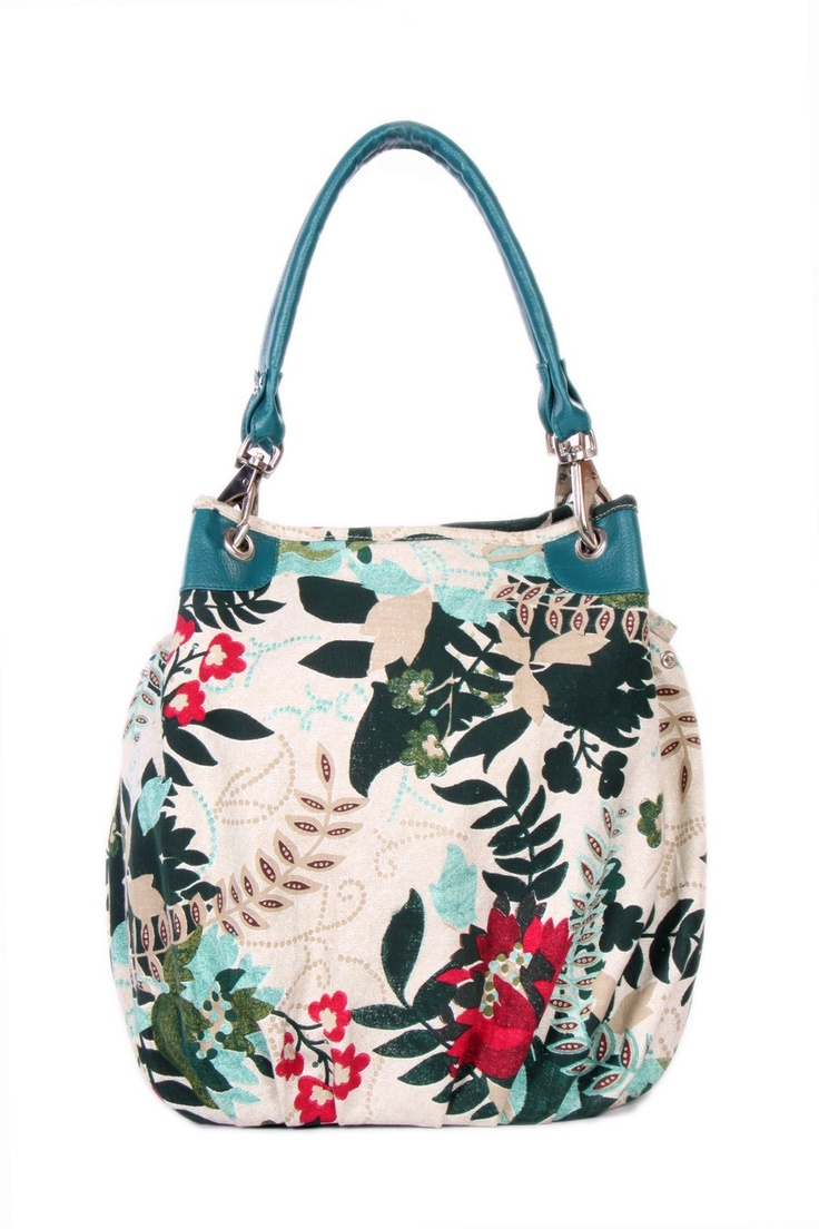 Floral printed canvas bag  in off white colour; H-39cm; L- 46cm; W-16cm #Fashion #Style #Colors #Bags #Design #Casuals #W for #Woman