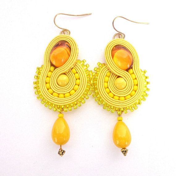 Yellow soutache earrings Canaries by Lolissa on Etsy