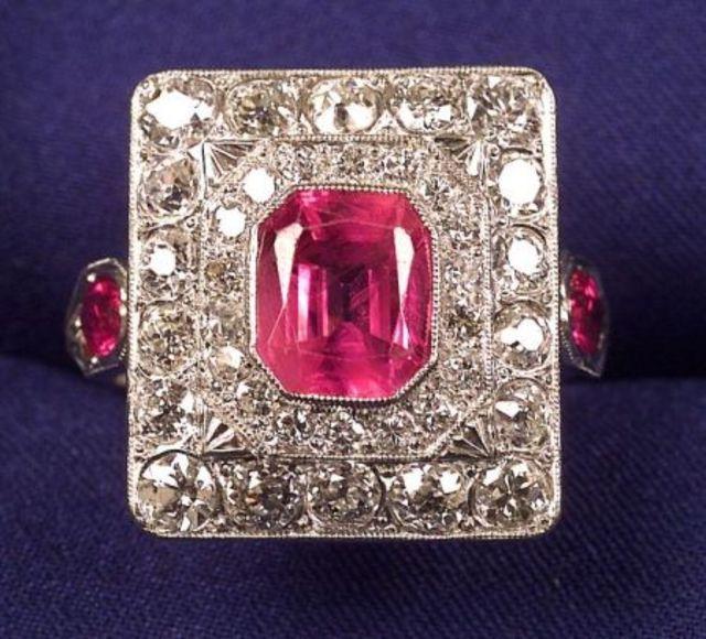Art Deco Platinum, Pink Sapphire and Diamond Ring | Skinner Auctioneers