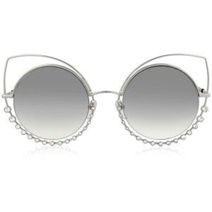 Marc Jacobs Sunglasses MARC 16/S EEIIC Silver Metal and Crystals Cat Eye Women's Sunglasses