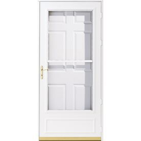 Pella helena white mid view safety retractable screen for Patio storm doors home depot