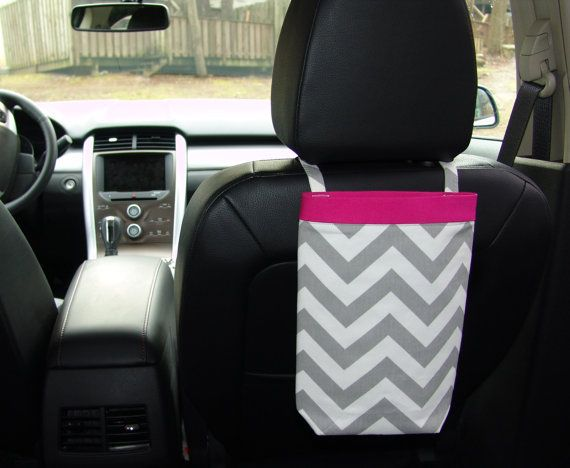Car Trash Bag CHEVRON GRAY With PINK Band Women Litter Auto