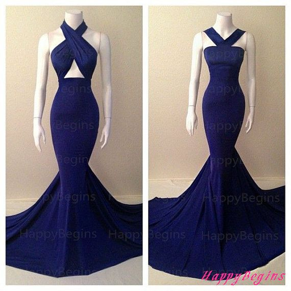 Mermaid Long Prom Dress/ Navy Blue Long Backless Prom Dress/ Fashion Evening Dress/ Party Dress 2014 on Etsy, $169.00