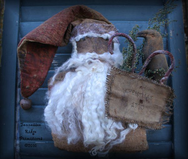 TRP Primitive Grungy Santa Door Doll with Quilt Hat Epattern $7.55