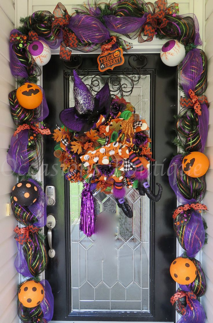 Halloween Wreath with Matching Garland, Wicked Witch Halloween Wreath, Halloween Wreath, Deco Mesh Wreath, Ready to Ship by OccasionsBoutique on Etsy