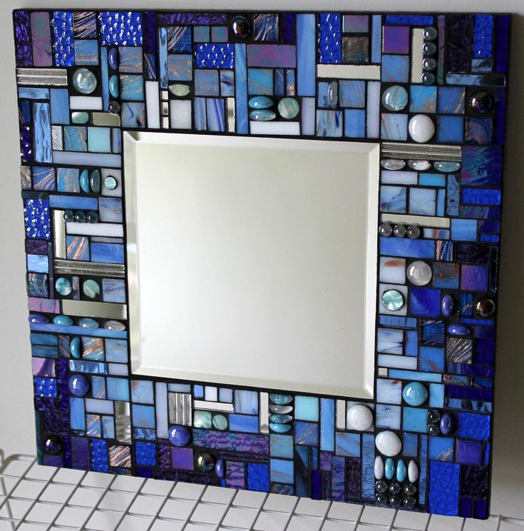 Mosaic Mirror, Multi Media, Stained Glass, White, Aqua, and Blue, Blue, Blue. 15 x 15 $175.00, via Etsy.