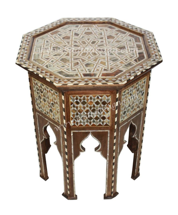 Syrian Design Inlay Side Table   MOP ST063