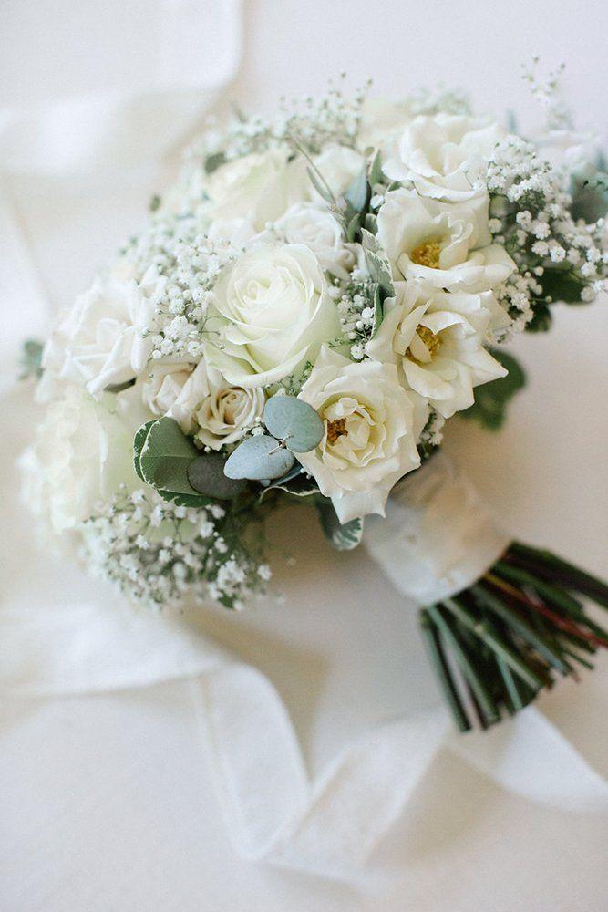 Baby S Breath Wedding Ideas For Rustic Weddings In 2020 White Roses Wedding Bridal Bouquet Blue Winter Wedding Bouquet