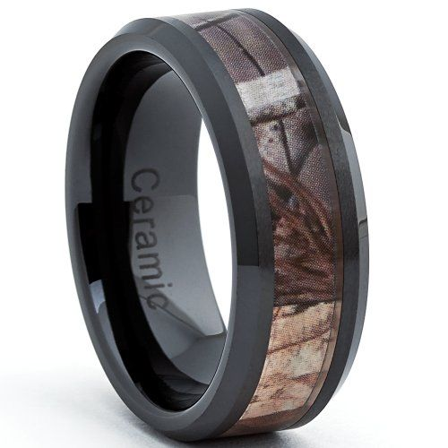 8MM Herren Schwarz Keramik Ring Mit Jagd Camo-Design,Bequemlichkeit Passen,Größe 63