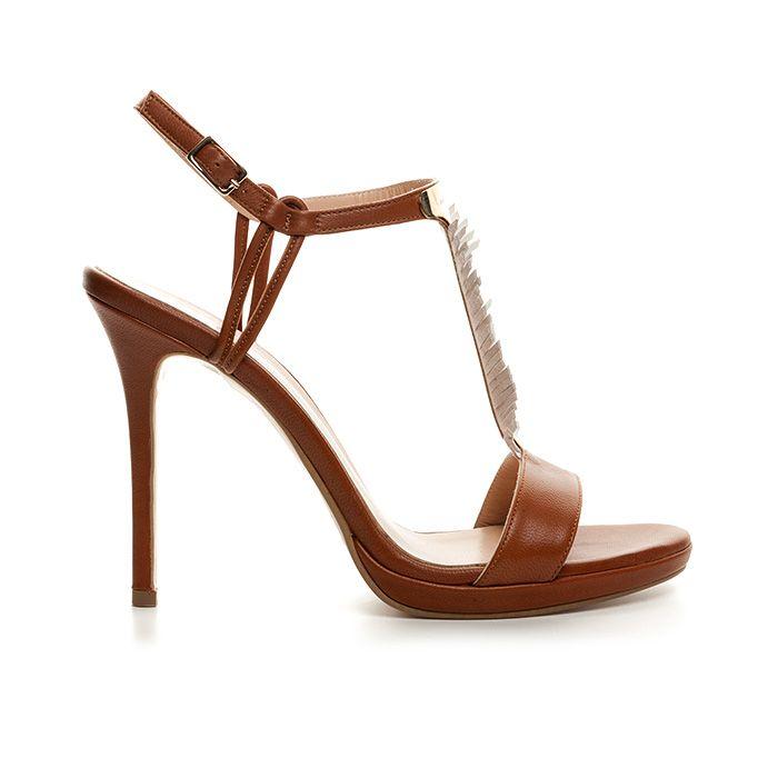 1008B21_COGNAC LEATHER www.mourtzi.com #mourtzi #sandals #mourtziermou #feathers #outfit