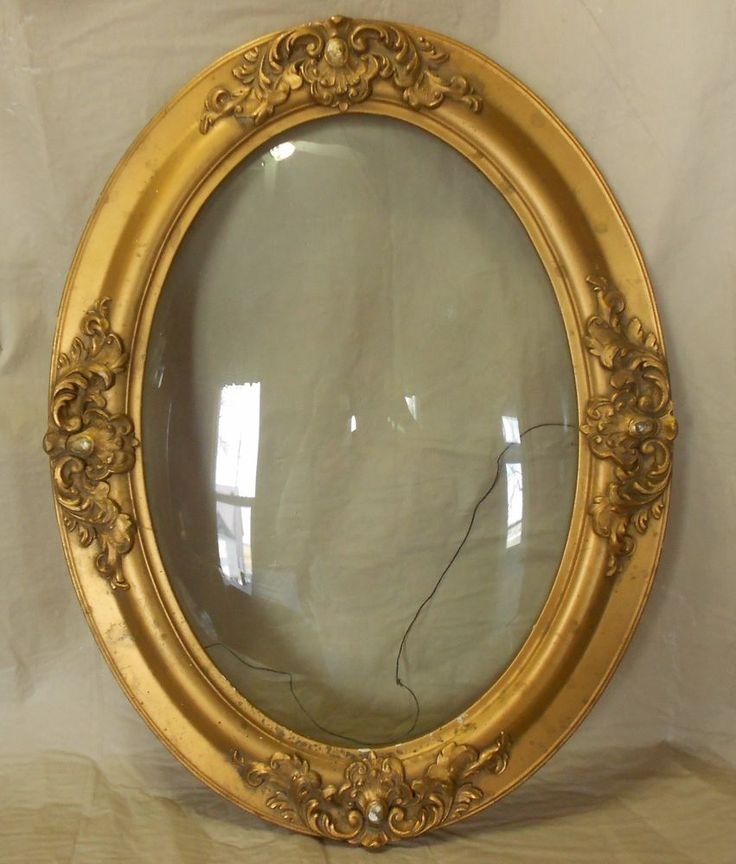 Antique 25 Quot X 19 Quot Oval Picture Frame Amp Bubble Glass Made
