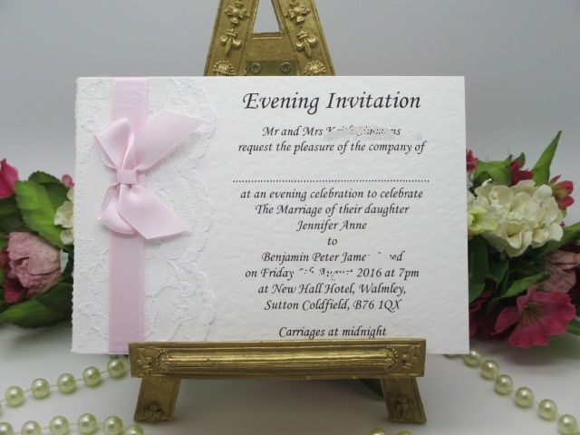 B0006 A6 FLAT CARD WHITE LACE EVENING INVITATION SATIN RIBBON Available from www.vintagelaceweddingcards.co.uk