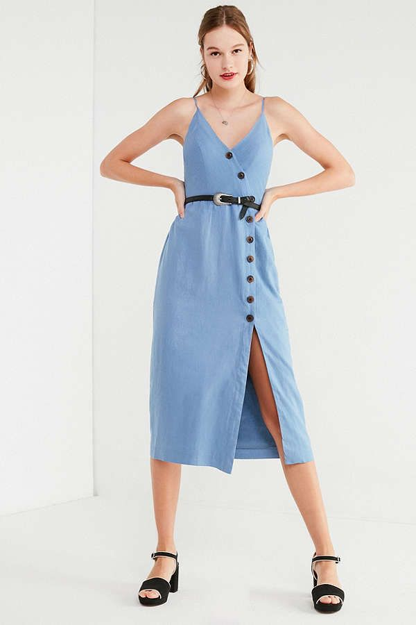a1b9956aaa Slide View  1  UO Amber Button-Down Linen Midi Dress