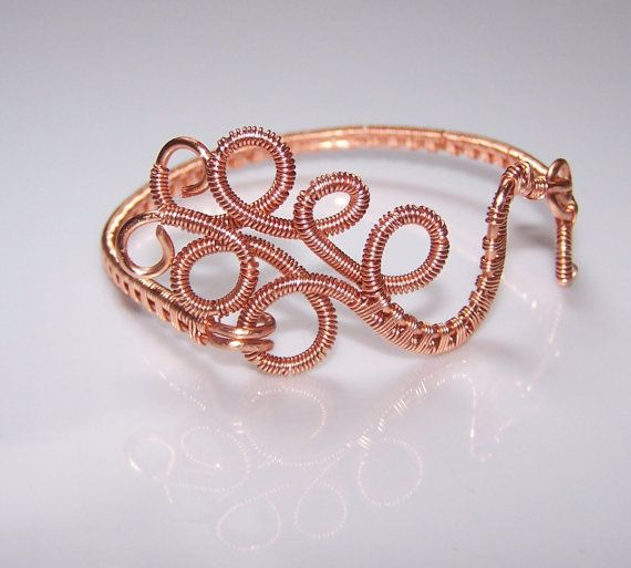 Wire Wrapped Copper Bangle Bracelet Cuff Bracelet by choice4all