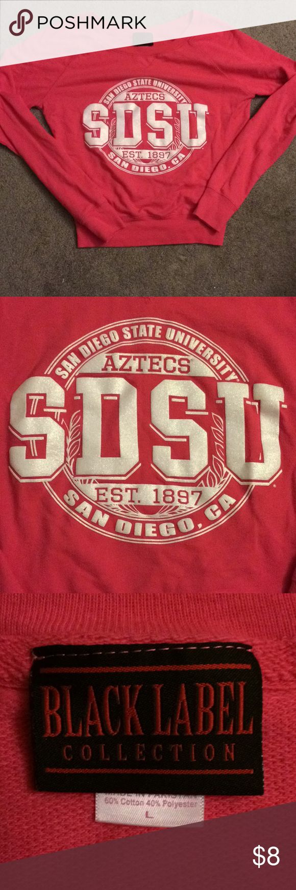 SDSU San Diego State Pink Crewneck Sweatshirt S/M San Diego State University SDSU Pink crewneck sweatshirt  Purchased from SDSU bookstore This sweatshirt runs small & I would definitely not classify it as a large. Fits a small or medium.  Originally $45 Excellent condition, no stains or rips Sweaters Crew & Scoop Necks