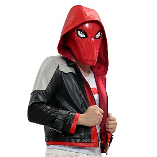 Red Hood Costume Batman Cosplay PU Jacket Suit Adult Custom Made XL *** Click image to review more details.