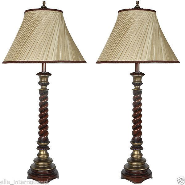 Table Lamp Set Tall Tuscan Style Antique Turned Wood finish Body Silk Shade New #MARTELLEINTL #Mediterranean