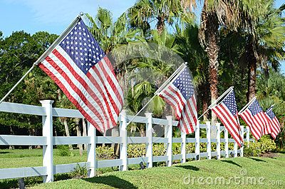 American Flags are proudly flown on white fence in honor of July 4th holiday.