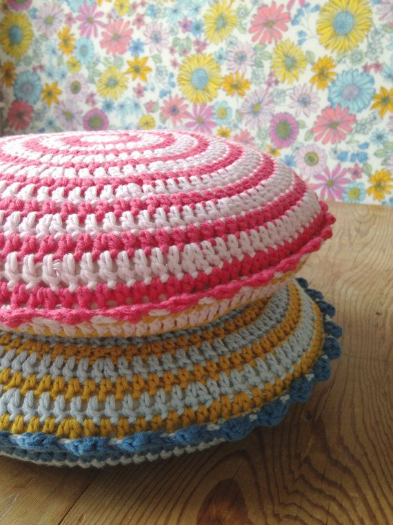 Mini round pink crochet pillow/cushion by binkeeshop on Etsy,