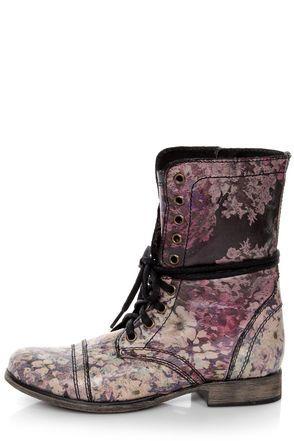 Steve Madden Blomm Floral Multi Print Leather Combat Boots
