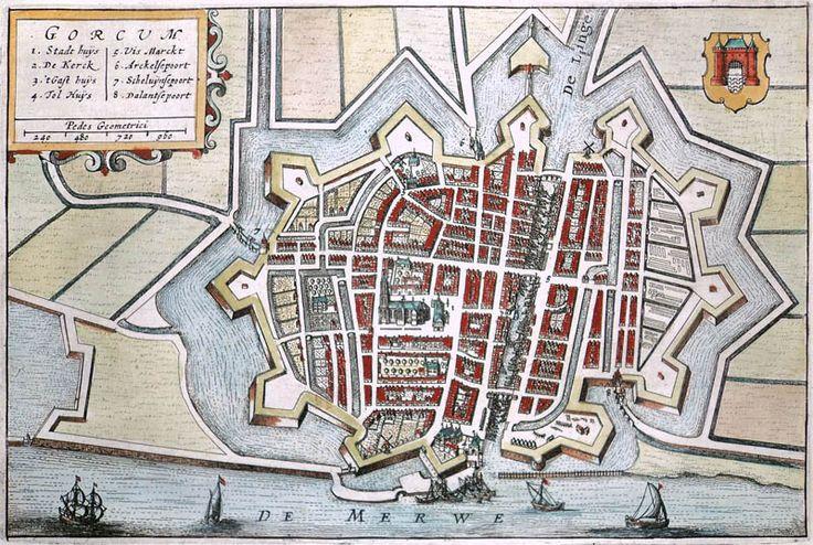 Stadsplattegrond van Gorkum in 1632 door Boxhorn uitgegeven (Gorinchem)