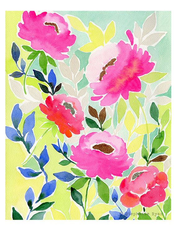 Art Print Floral Watercolor Illustration Heart by stephanieryanart