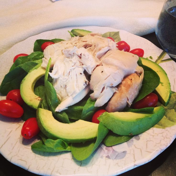 Low carb meals - chicken on spinach, avocados and cherry tomatoes