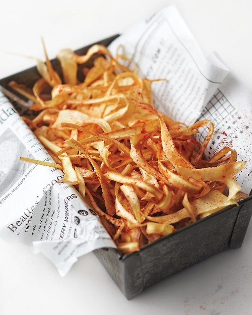 : Fries, Plastic Bags, Marthastewart, Coconut Oil, Snacks, Martha Stewart, Smoky Parsnip, Parsnip Crisp, Crisp Recipes