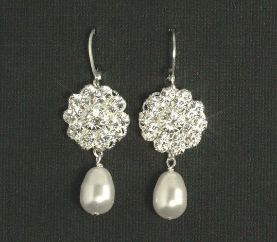 Vintage Bridal Earrings  Rhinestone Pearl Wedding by plumbcrazy, $38.00