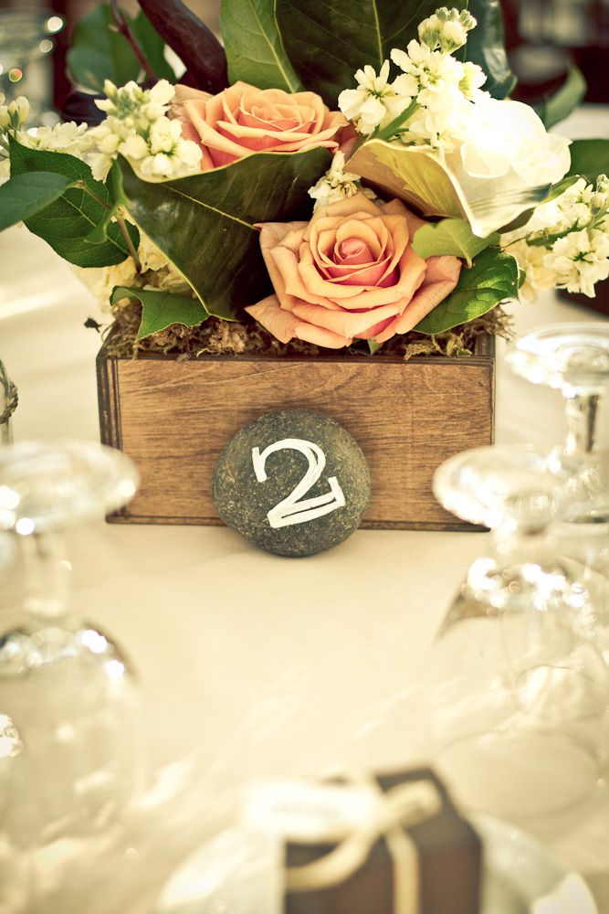 stone-table-numbers.jpg (667×1000)Rustic Table, Flower Arrangements, Garden Parties, Wooden Boxes, Boxes Centerpieces, Gardens Parties, Table Numbers, Flower Boxes, Parties Inspiration