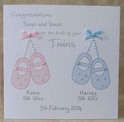 #Handmade #personalised new baby #twins card pink - blue - or mixed, View more on the LINK: http://www.zeppy.io/product/gb/2/301092909953/