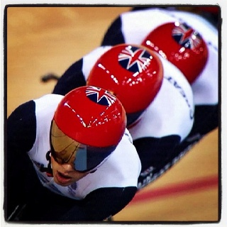 Our awesome Golden team GB in team pursuit. Olympic track cycling