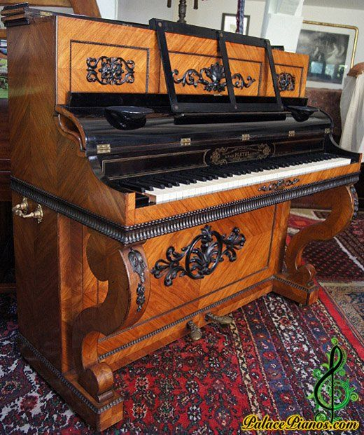 Art Cased Rich model Pleyel Oblique Upright piano serial number 20885 made in the year 1854.
