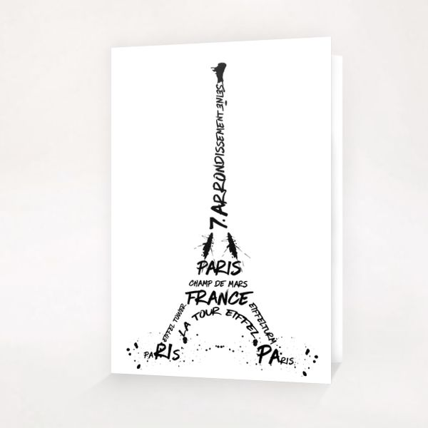 Digital-Art Eiffel Tower Greeting Card & Postcard by Melanie Viola