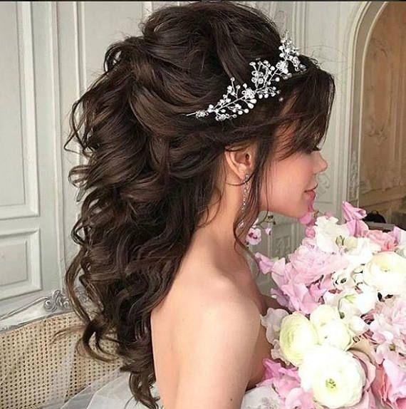 Wedding hair vine Bridal hair piece Baby breath garland Pearl Headpiece Bridal hair brooch Crystal hair comb Bohemian Silver Headband