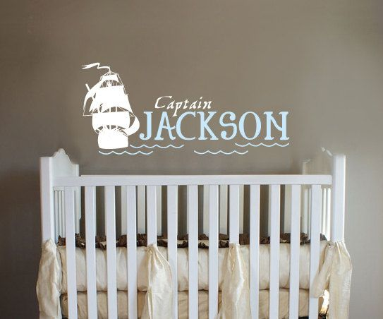 Pirate Ship Monogram Captian Boys Room Nursery Wall By Ababywall 30 00 For When I Get A Wittle One Pinterest Baby And