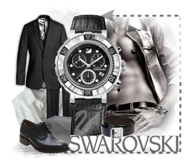 """For Men With Style...Swarovski"" by keti-lady ❤ liked on Polyvore featuring Paul Smith, H&M, Swarovski, Fred Perry, BOSS Black, Clarks, swarovski, watches, tie and blazer"