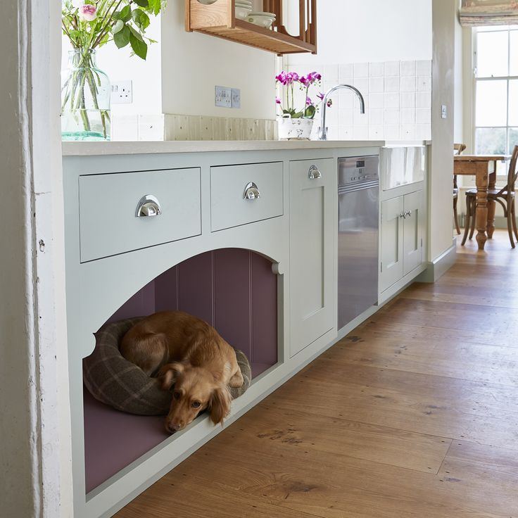 Bespoke kitchen dog's bed. The perfect solution to getting your four legged friend out from under your feet! Hand crafted in Devon and hand painted in Farrow & Ball's Mizzle and Cinder Rose.