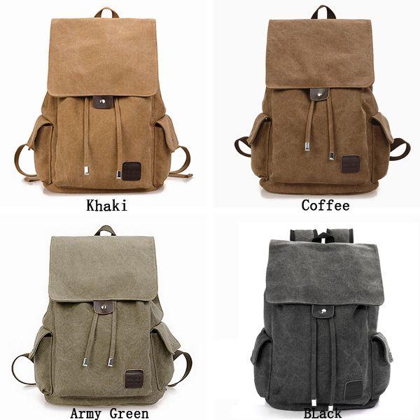 Men Outdoor Travel Canvas Backpack School Rucksack Shoulders Bag