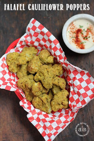 crunchy falafel-crusted cauliflower poppers with tahini sauce for dipping!