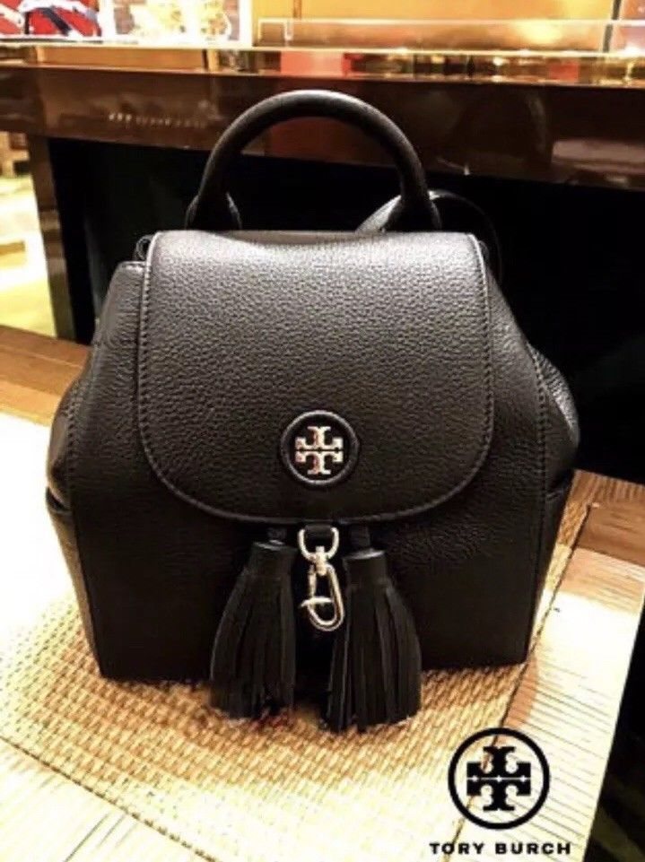 785e576d7189 Tory Burch Whipstitch Logo Mini Backpack Bag in Black Pebbled leather MSRP   495  purses  fashion